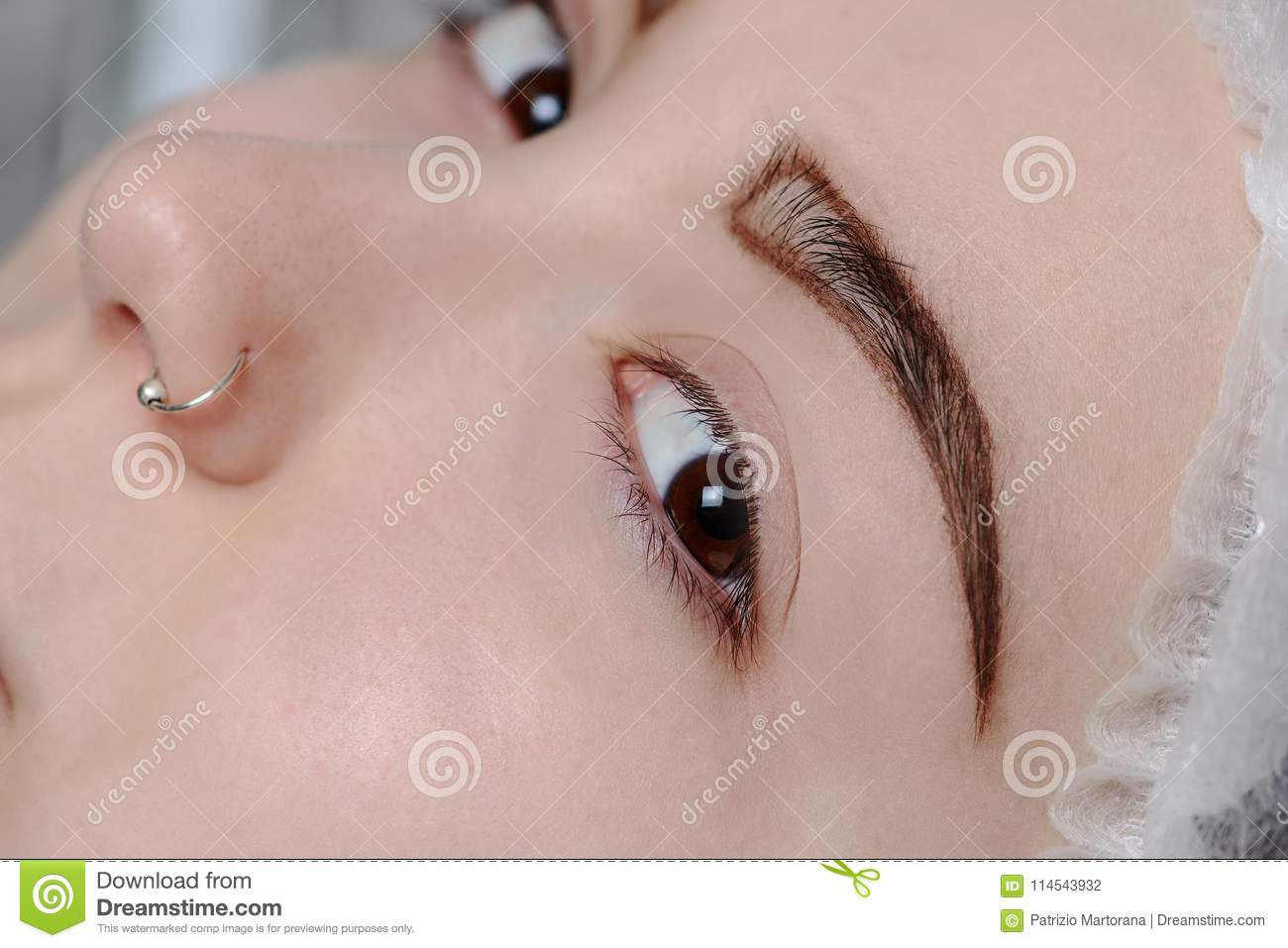 Permanent Makeup Permanent Tattooing Of Eyebrows Stock Photo