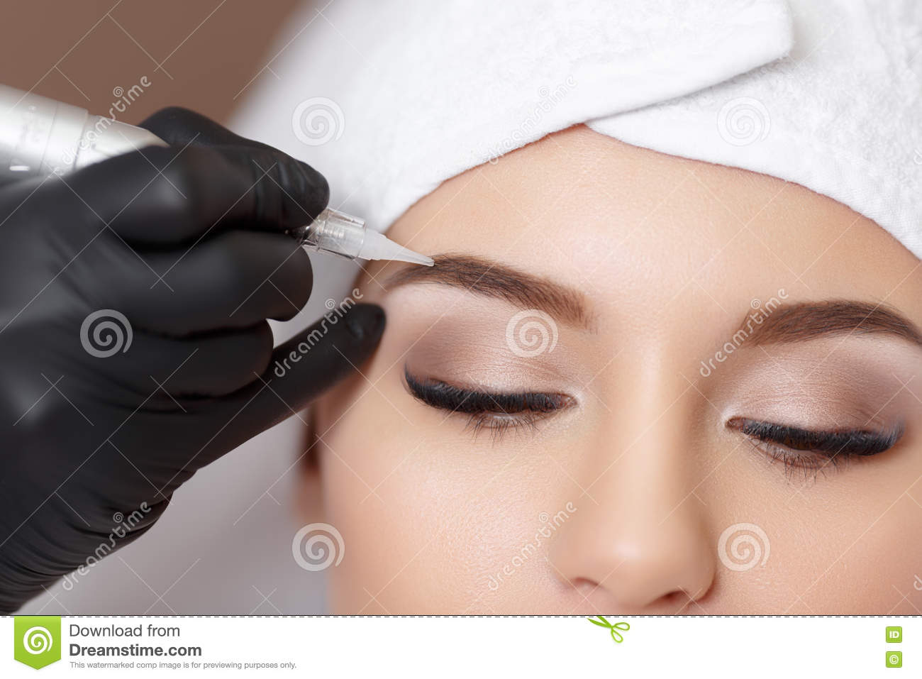 Permanent Makeup Tattooing Of Eyebrows Stock Photo Image Of