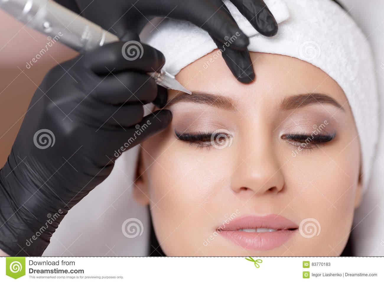 Permanent makeup stock photos royalty free images for Eyebrow tattoo images