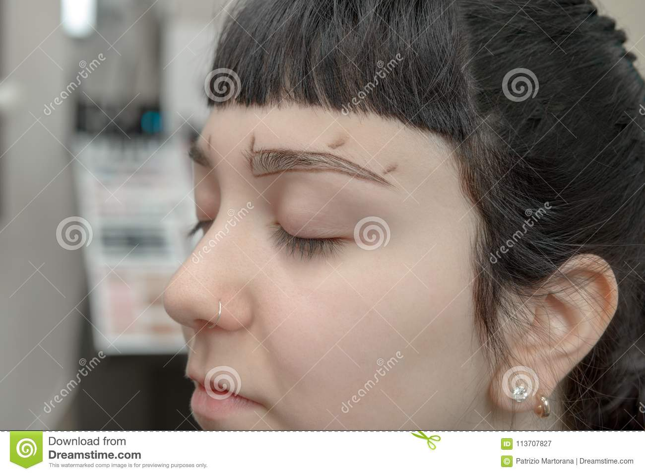 Permanent Makeup Permanent Tattooing Of Eyebrows Stock Image