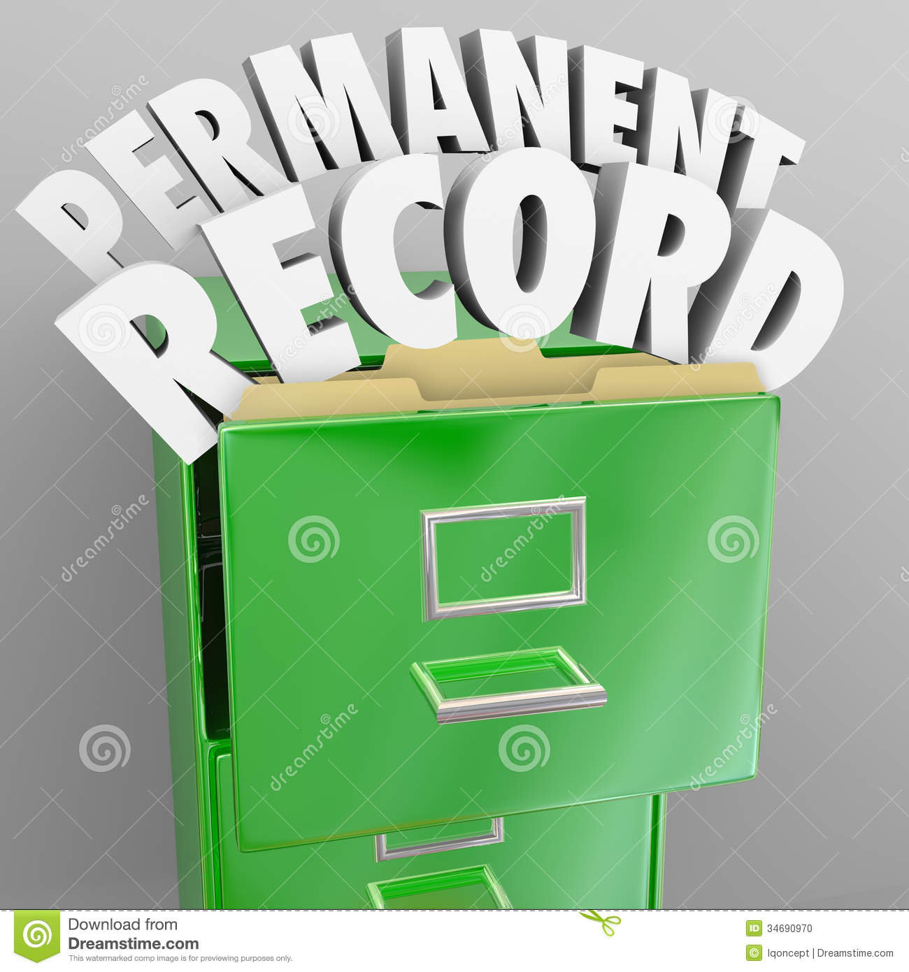 Permanent Record Filing Cabinet Personal Files Stock