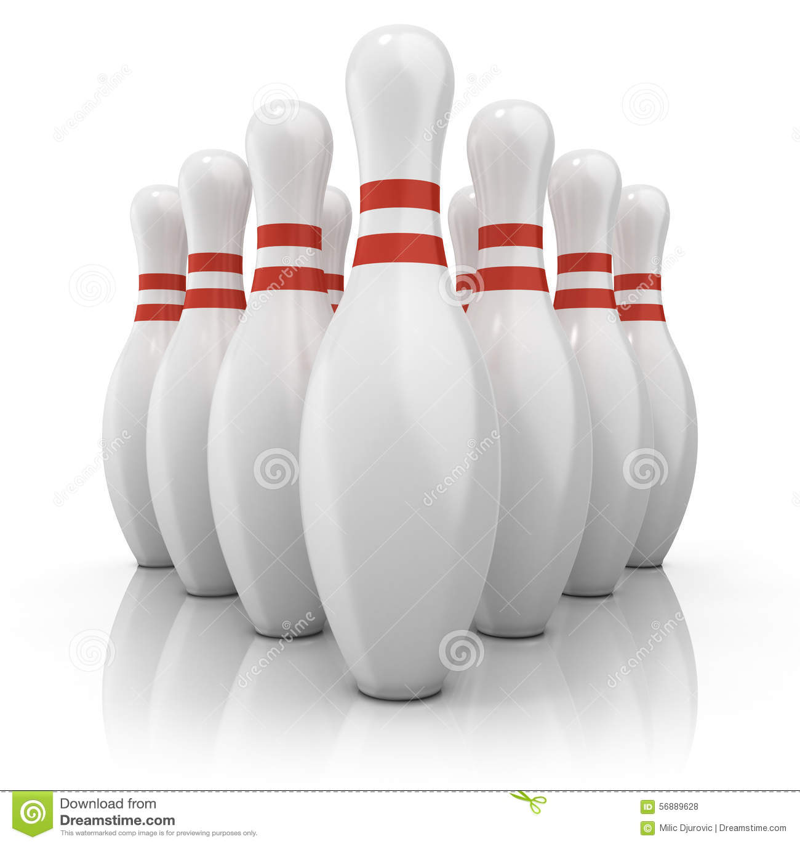 Perni di bowling con le bande rosse Front View
