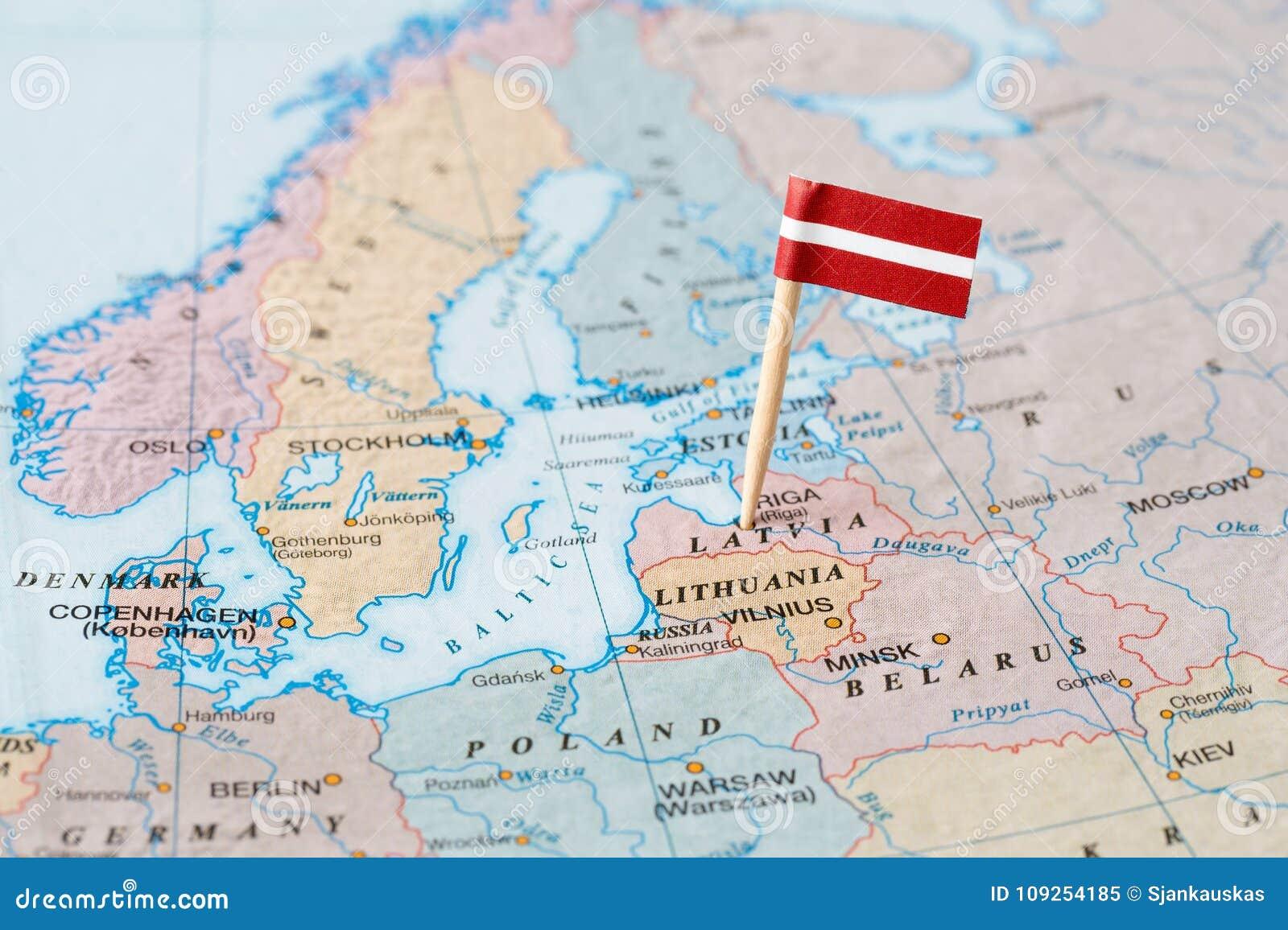 Mapa Politico Letonia Con Un Capital De Riga Ilustraciones