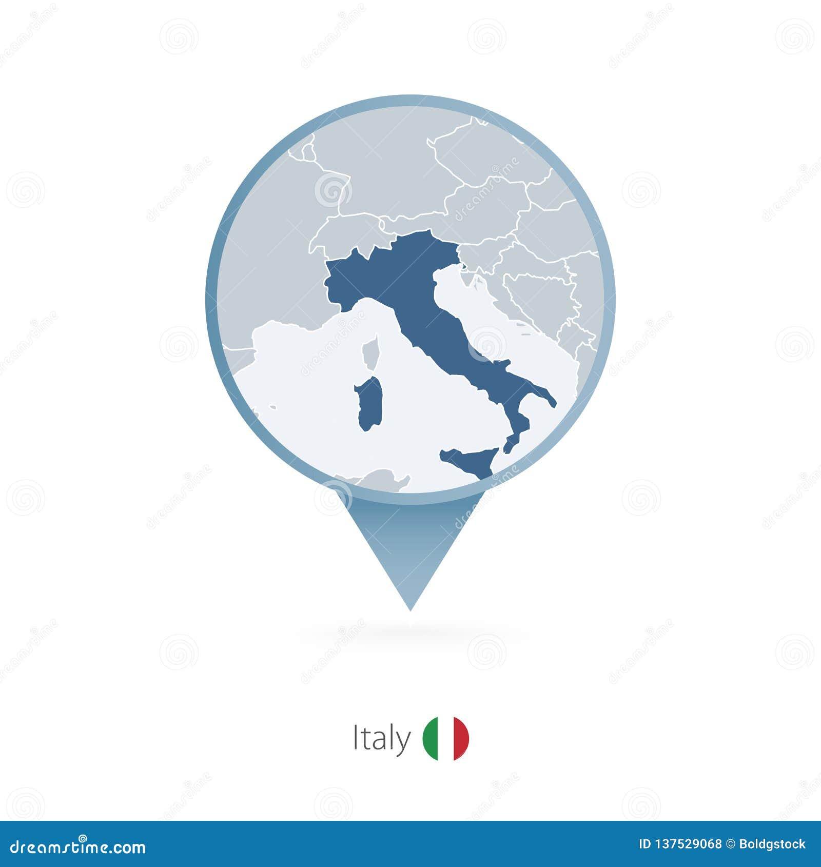 Perno del mapa con el mapa detallado de Italia y de países vecinos