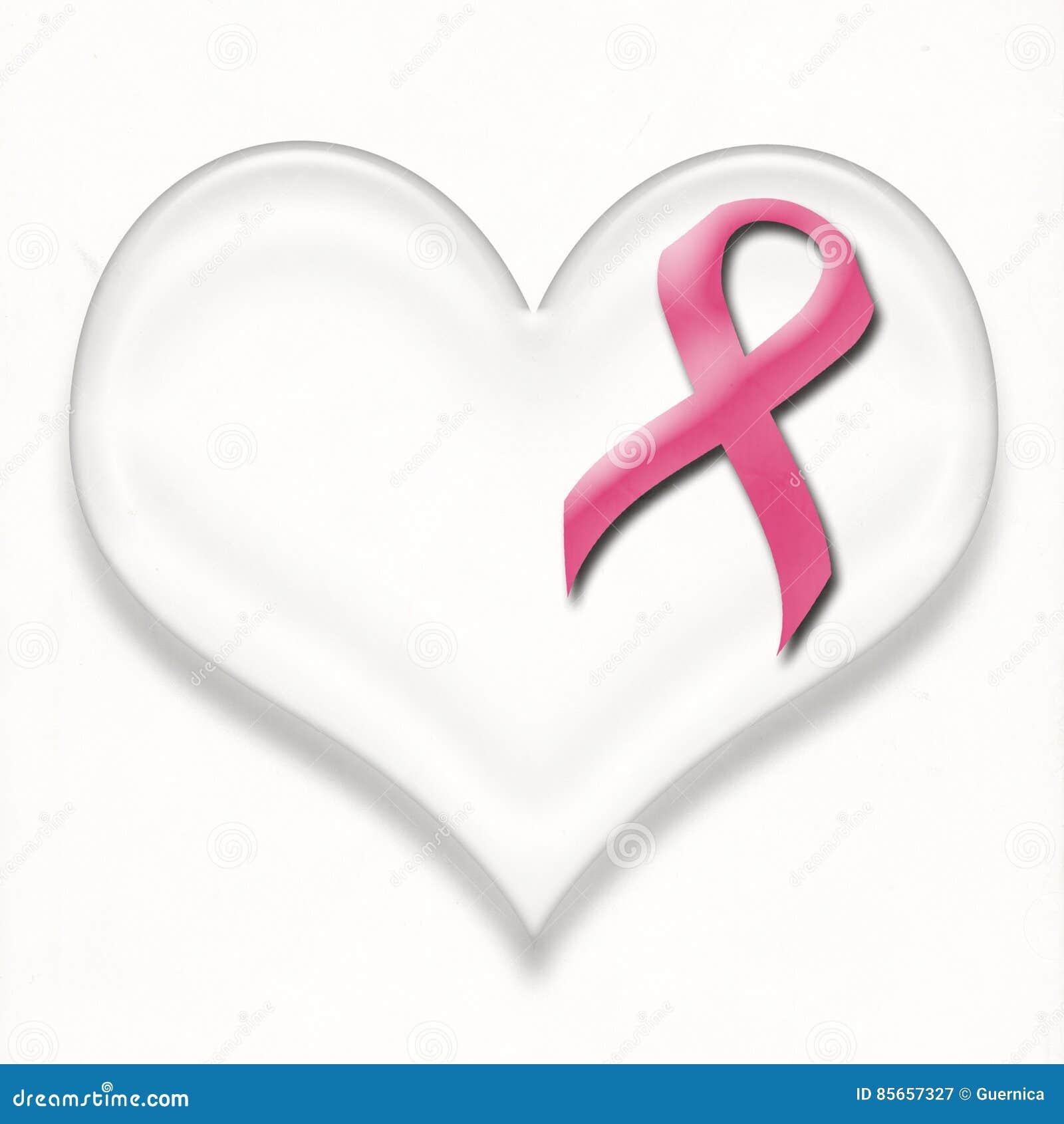 Perno del nastro di rosa del cancro al seno di sostegno su cuore
