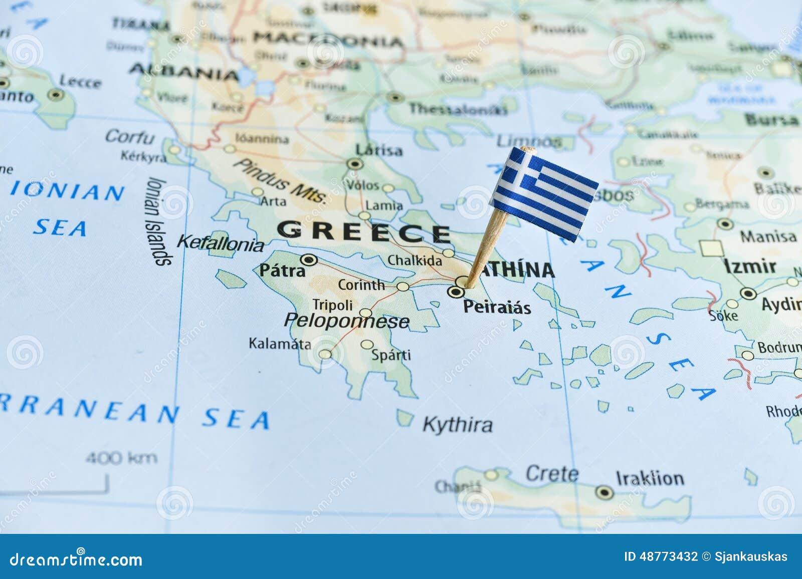 Perno della bandiera della mappa della grecia fotografia for Cartina della grecia antica da stampare