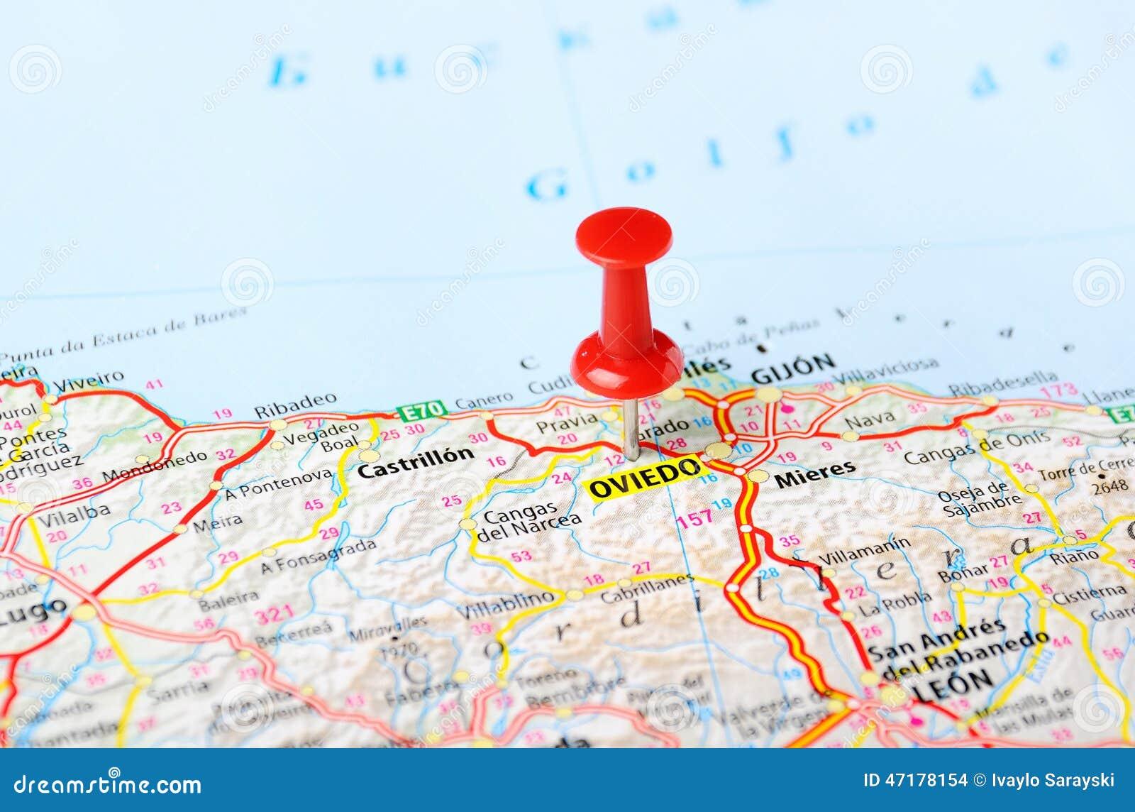 Mappa Spagna Oviedo.Perno Della Mappa Di Oviedo Spagna Fotografia Stock Immagine Di Senso Viaggio 47178154