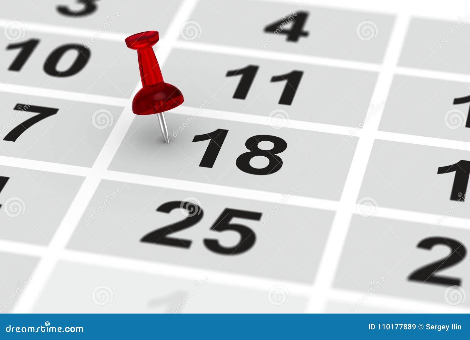 Marca Calendario.Perno Rojo Que Marca Dia Importante En Calendario Ilustracion 3d