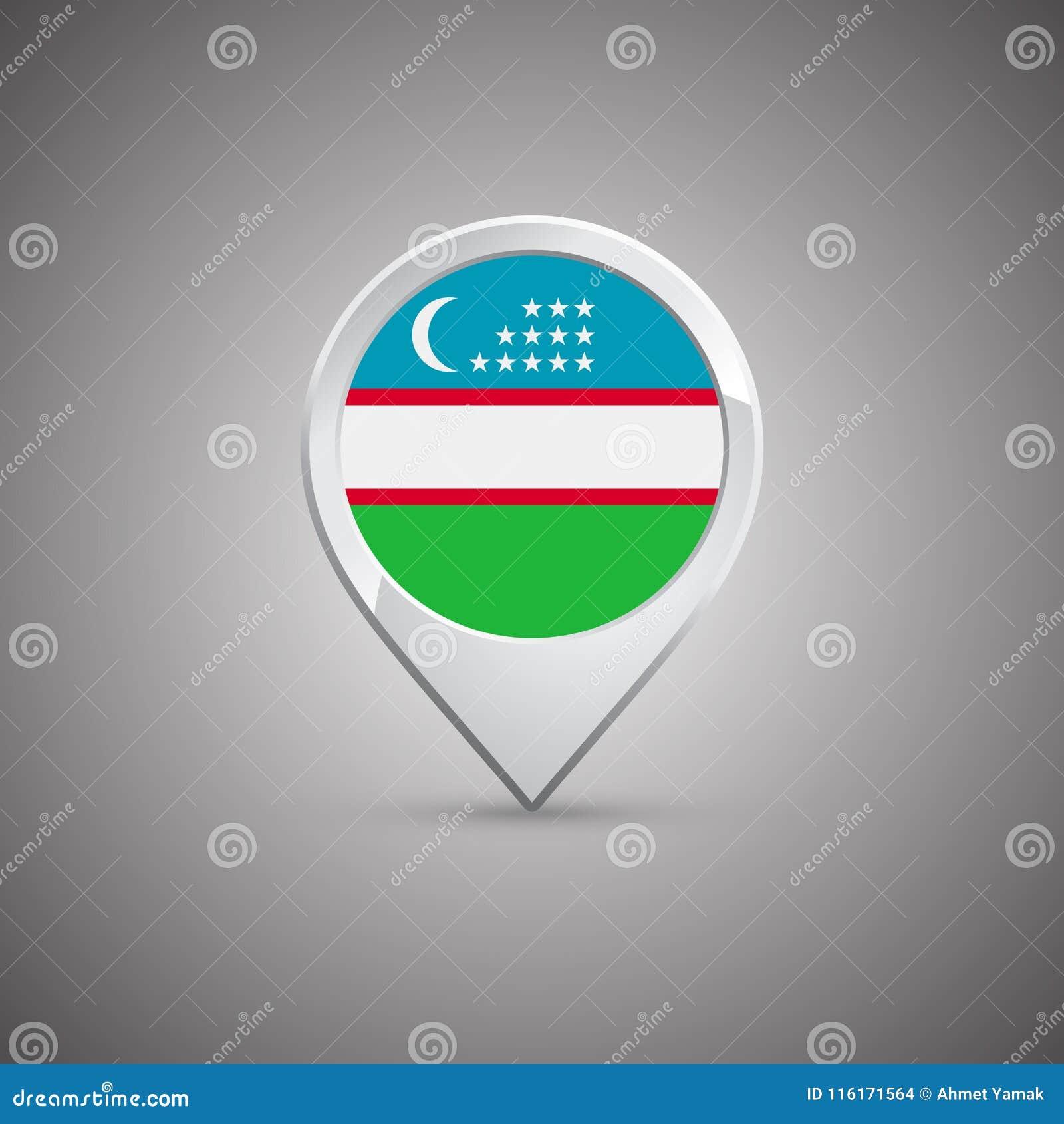 Perno rotondo di posizione con la bandiera dell Uzbekistan