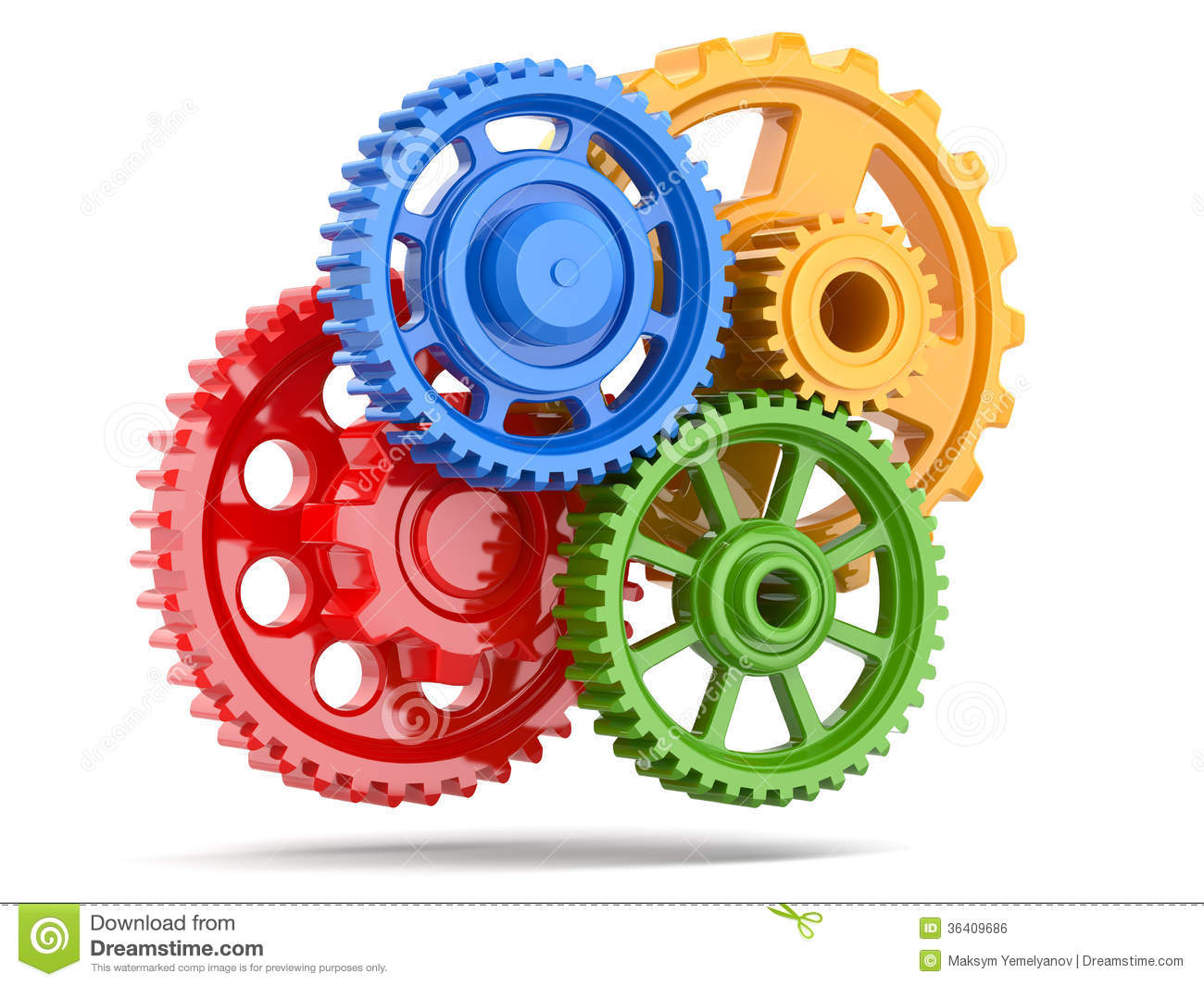 Perpetuum Mobile. Color Gears On White Isolated Background ...