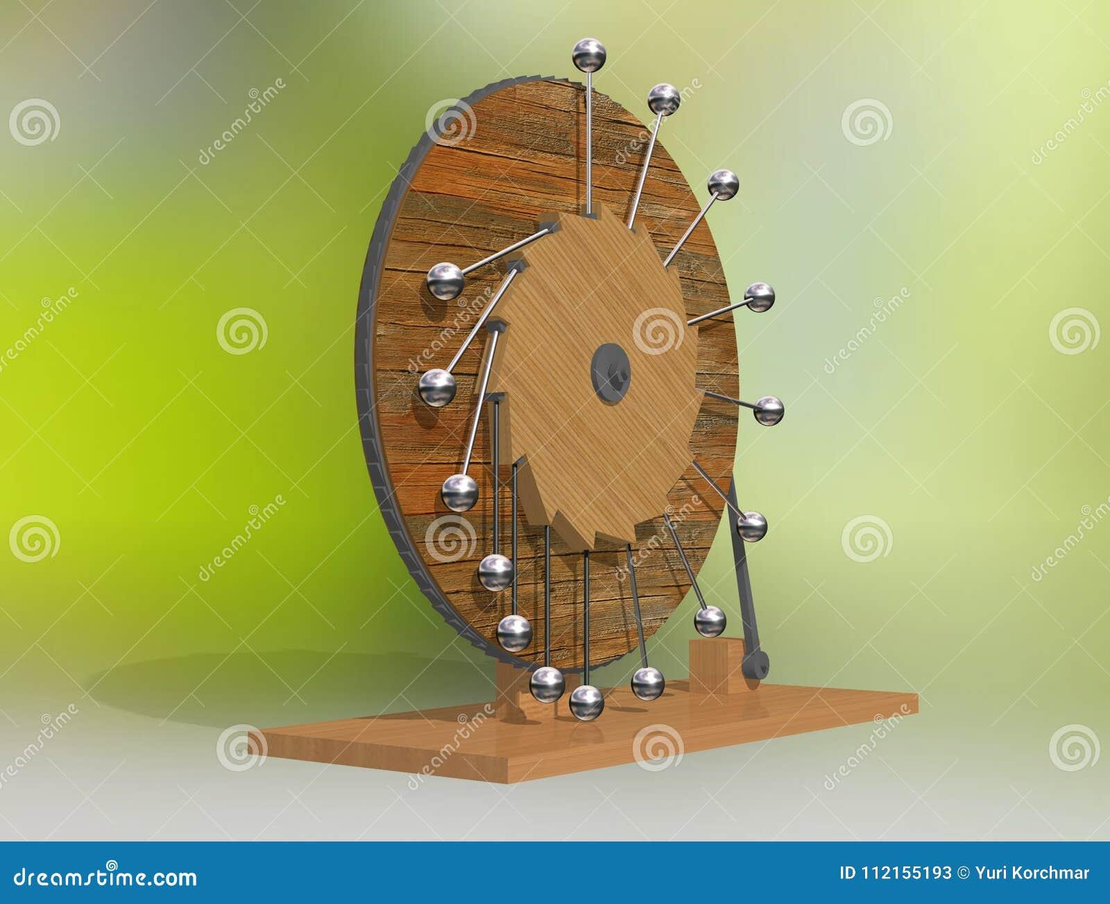 Perpetuum mobile. Leonardo da Vinci`s perpetual motion machine.