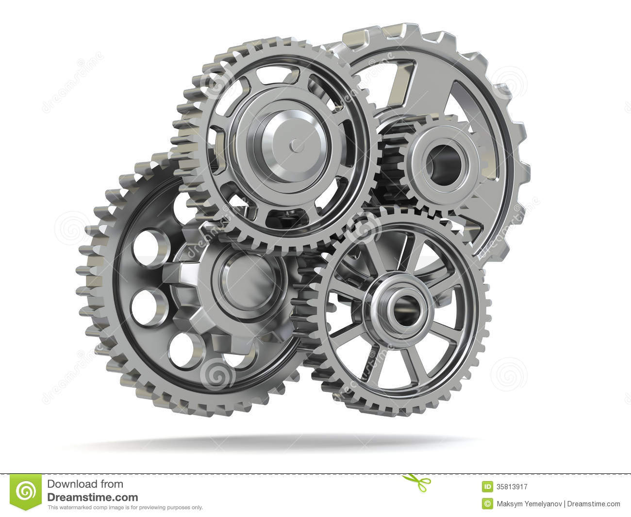 Royalty Free Stock Photography: Perpetuum mobile. Metal gears on white ...