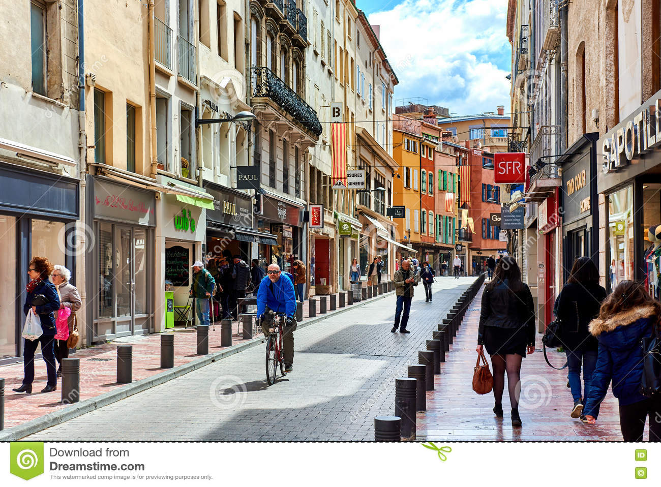 Perpignan main commercial street in the old town france editorial stock image image of place - Perpignan centre commercial ...