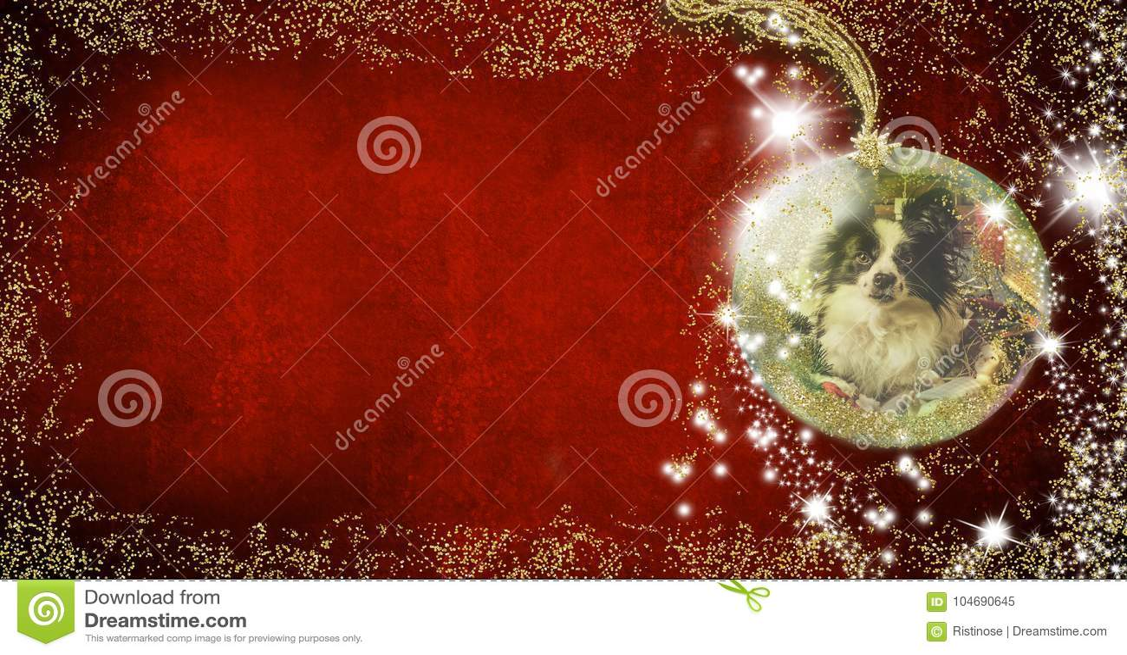 Perrito Fondo Para Escribir Tarjetas De Navidad Stock De