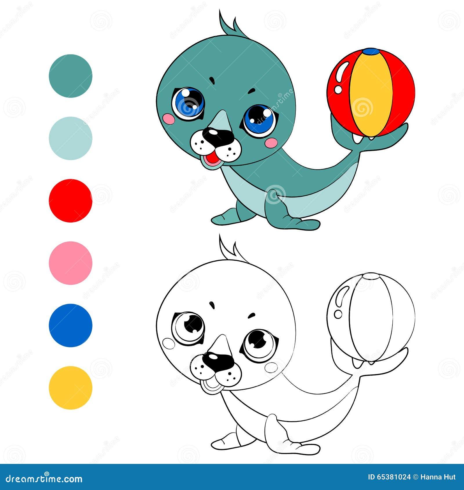 Perritos blancos del lobo marino del libro de colorear, disposición de los niños para el juego