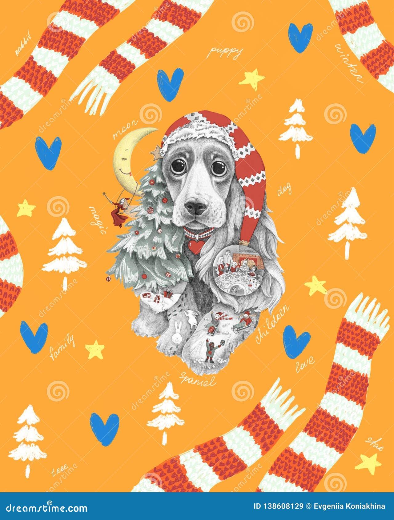 Perro con los oídos largos en un sombrero y una bufanda