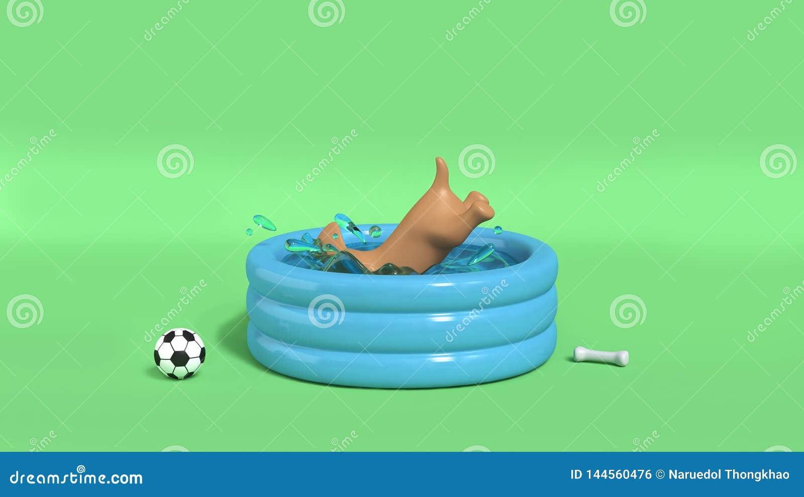 Perro de Brown que salta en el fondo verde 3d del chapoteo del agua de la piscina para rendir concepto del verano