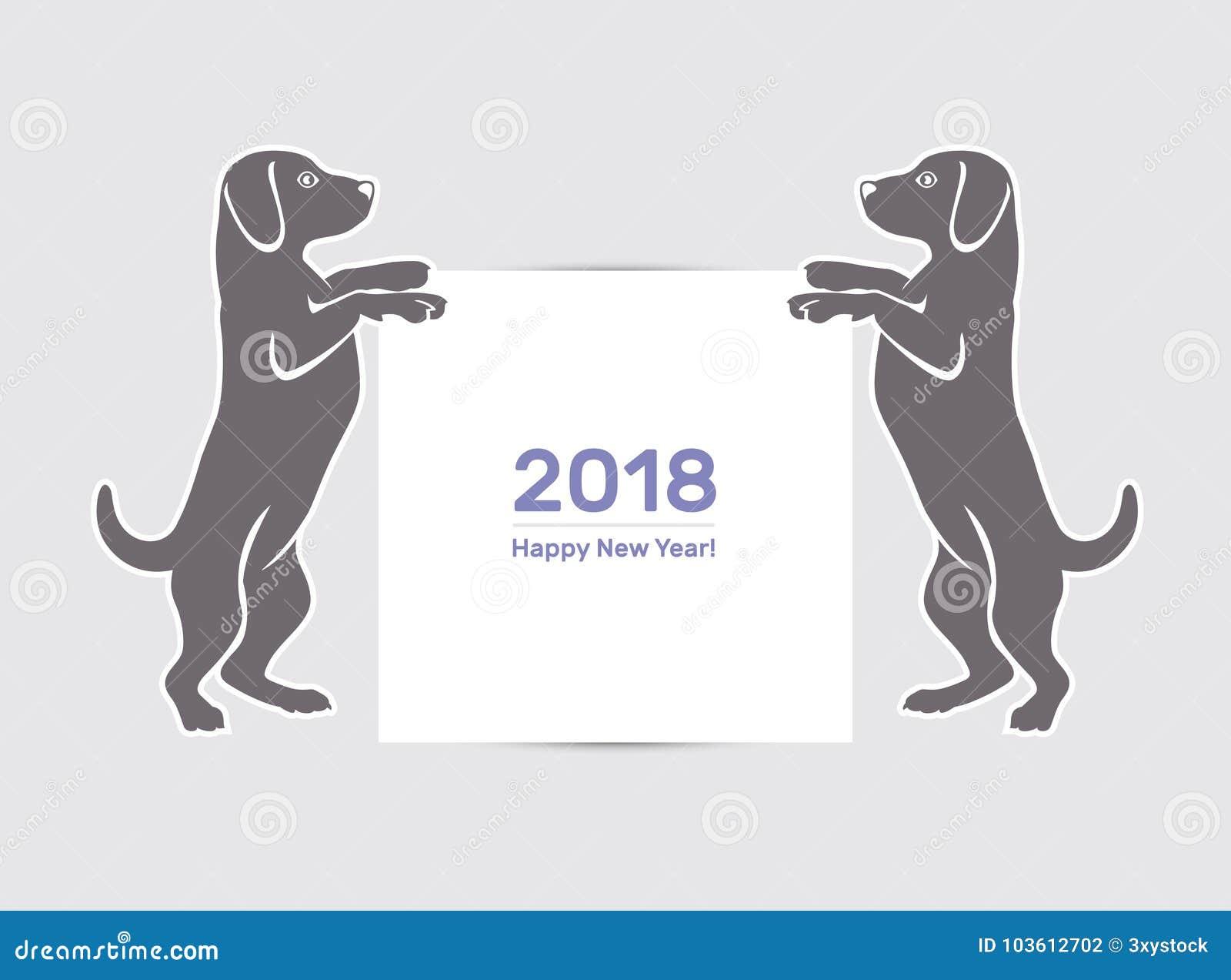 Perro de la Feliz Año Nuevo 2018