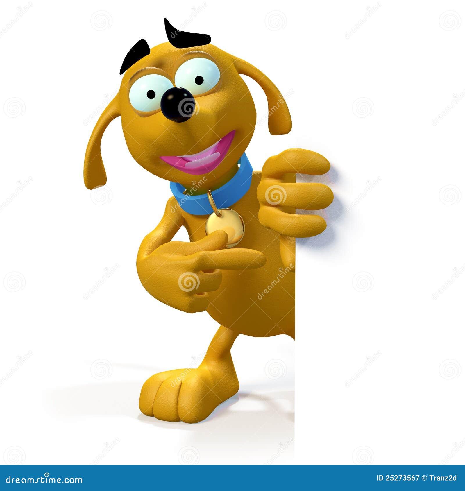 Perro de la historieta en el borde de la muestra