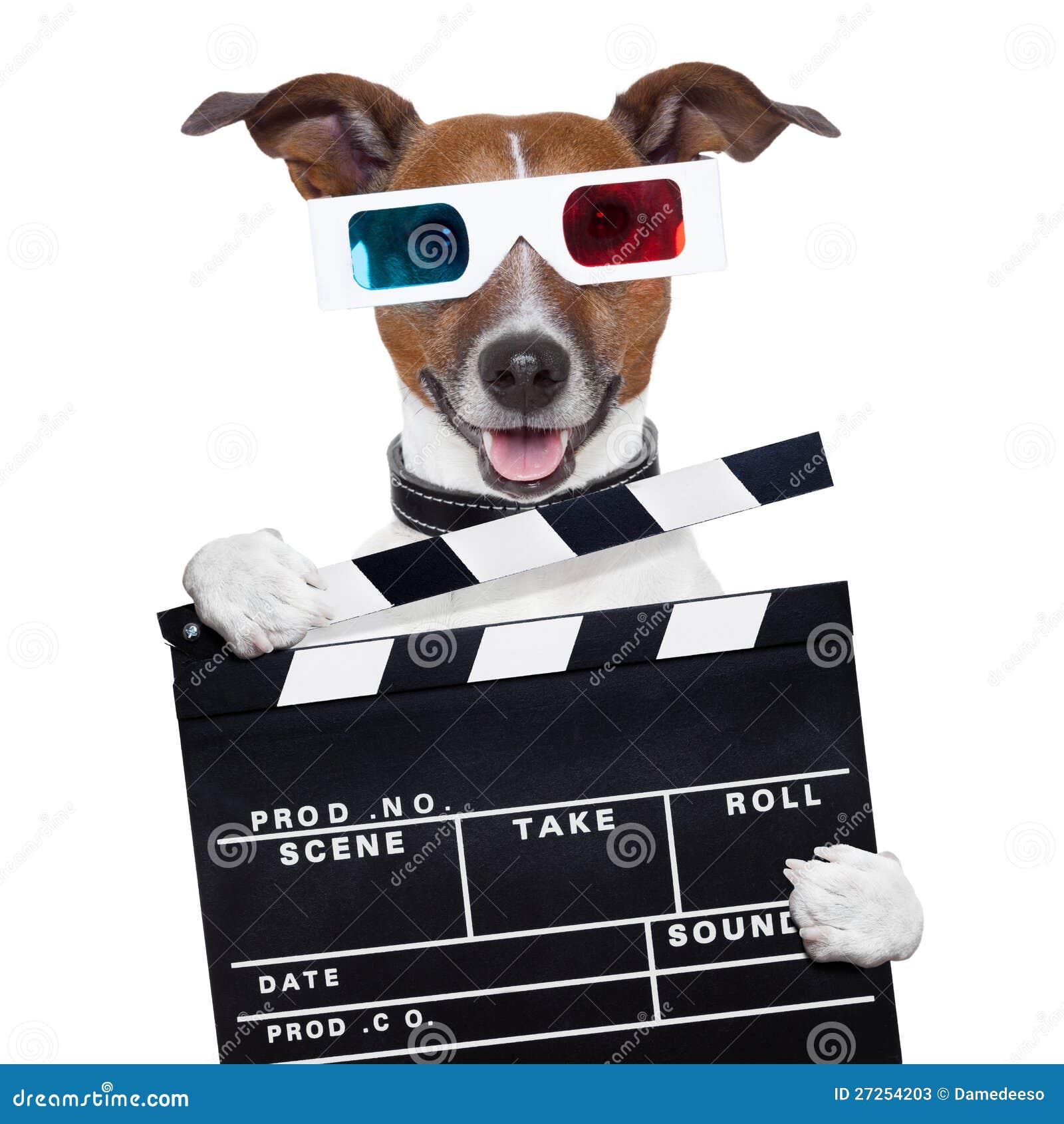 Perro de los vidrios de la tarjeta de chapaleta de la película 3d