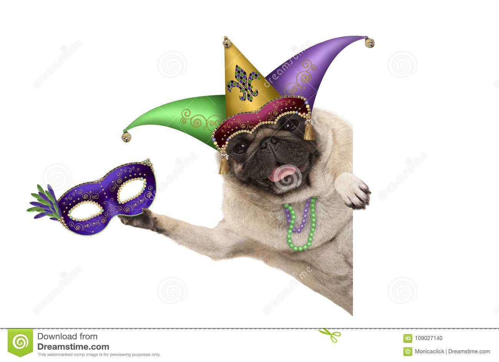 Perro del barro amasado del carnaval con el sombrero del bufón del carnaval, la máscara veneciana, el sombrero del bufón del arle