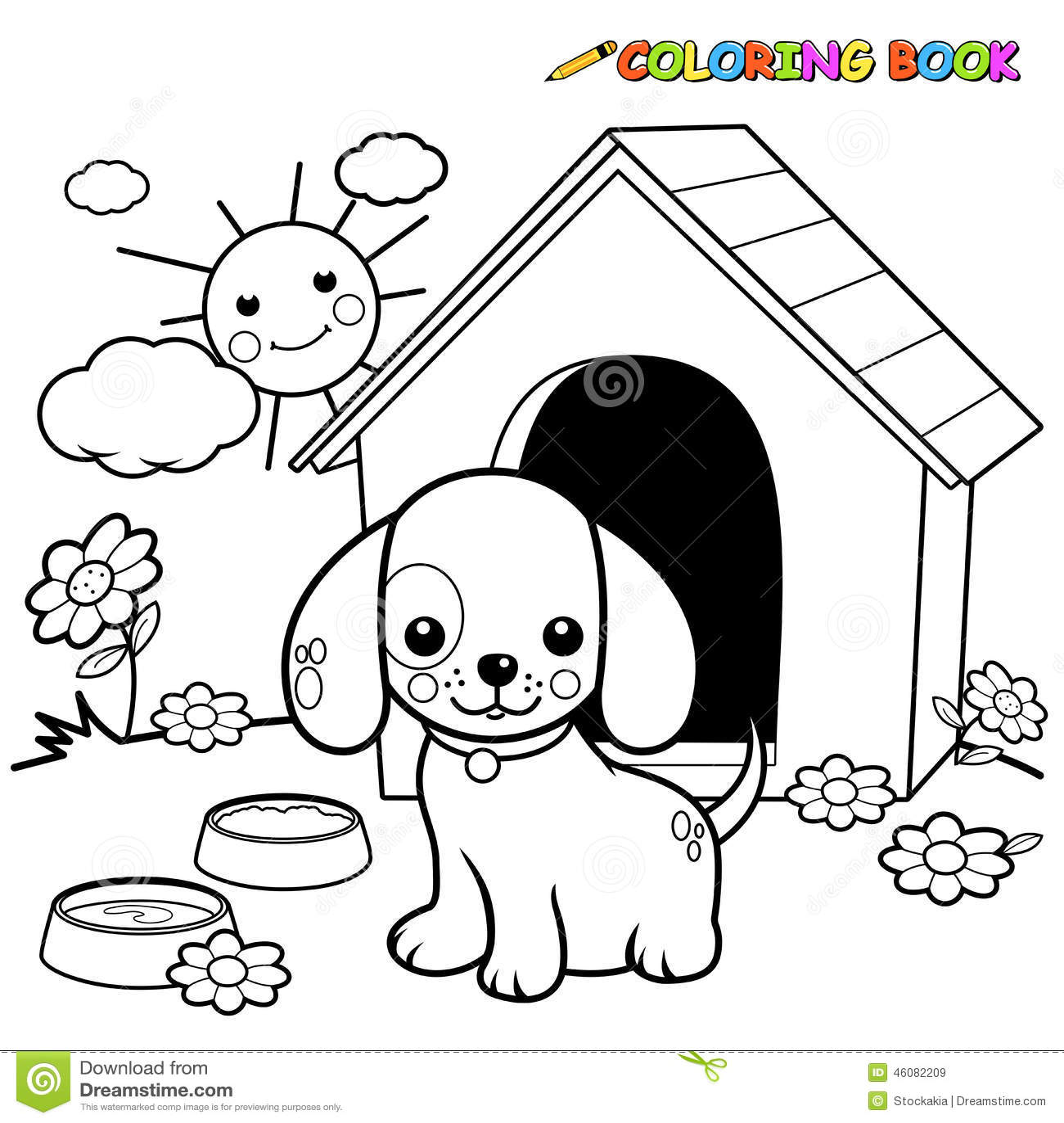 Perro Del Libro De Colorear Fuera De La Caseta De Perro Ilustración ...