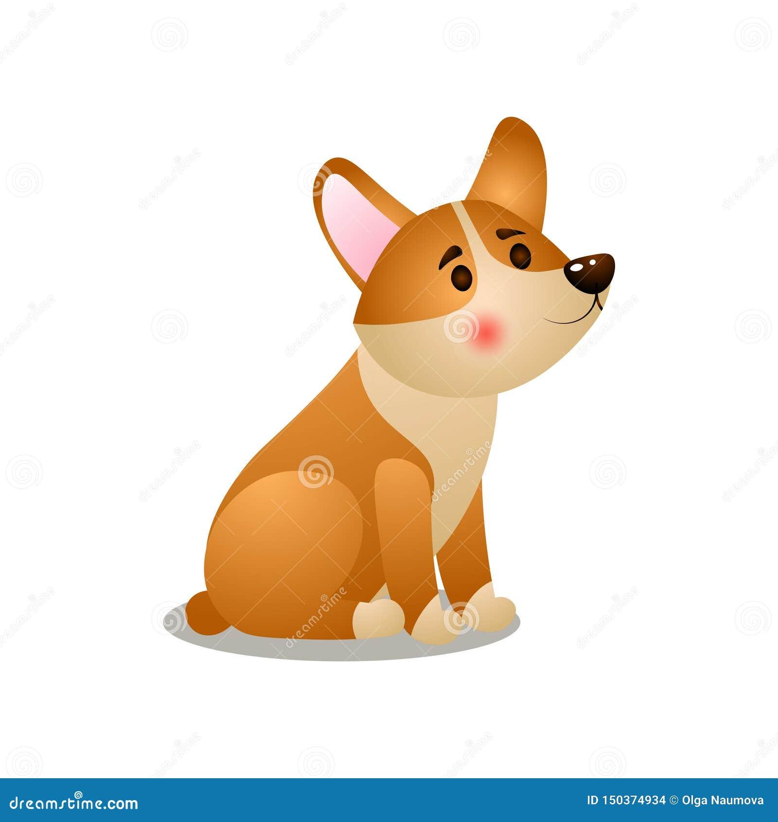 Perro lindo del corgi del perrito que espera su comida de la mañana
