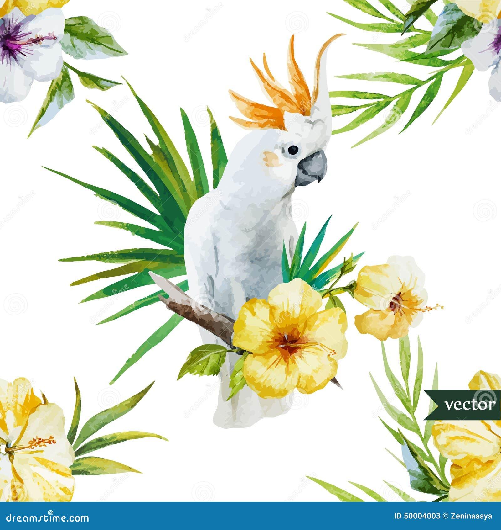 Papier Peint Avec Perroquet perroquet blanc, ketmie, tropicale, palmiers, fleurs, modèle