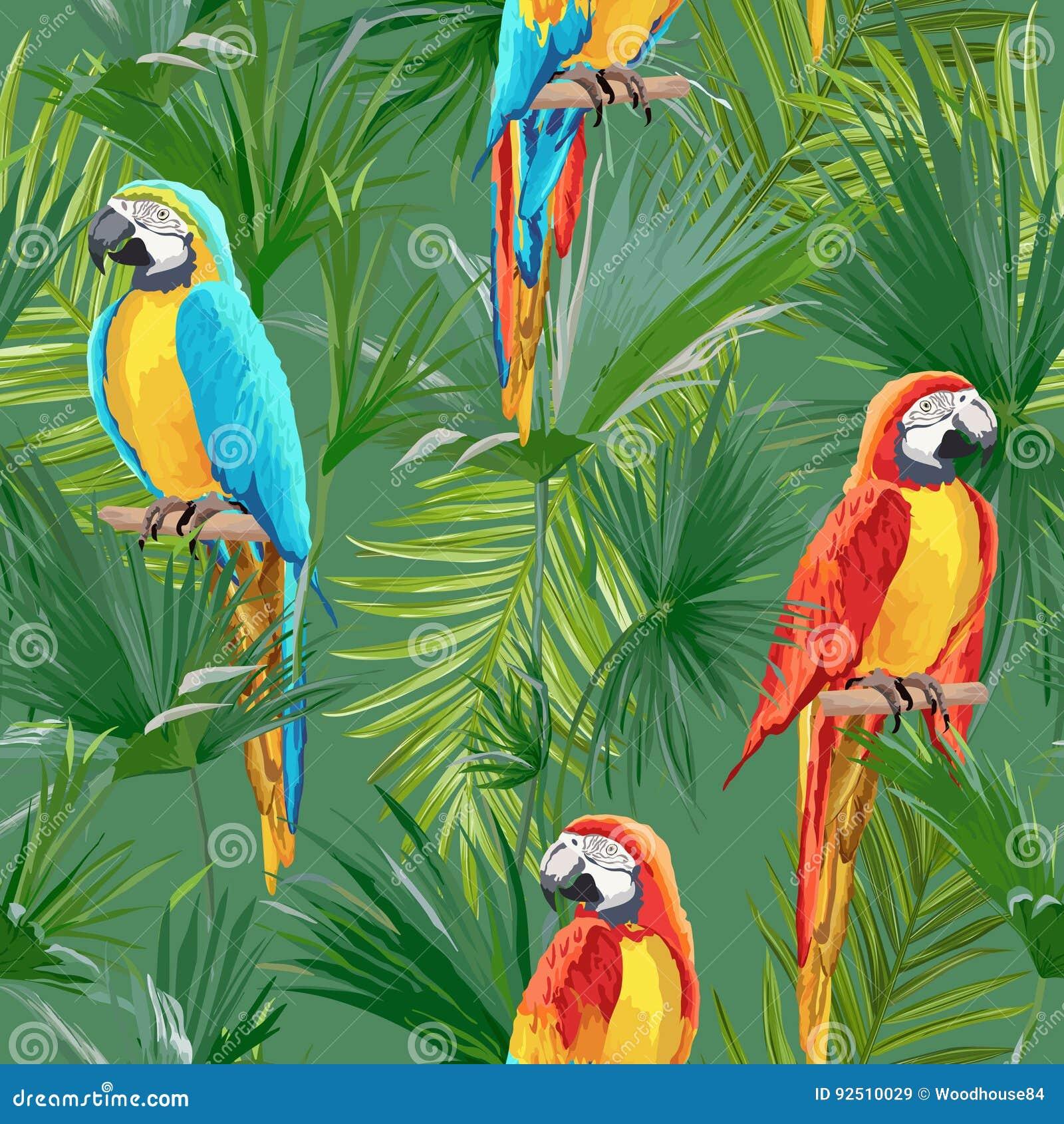 Papier Peint Avec Perroquet perroquet sans couture tropical et modèle floral d'été pour