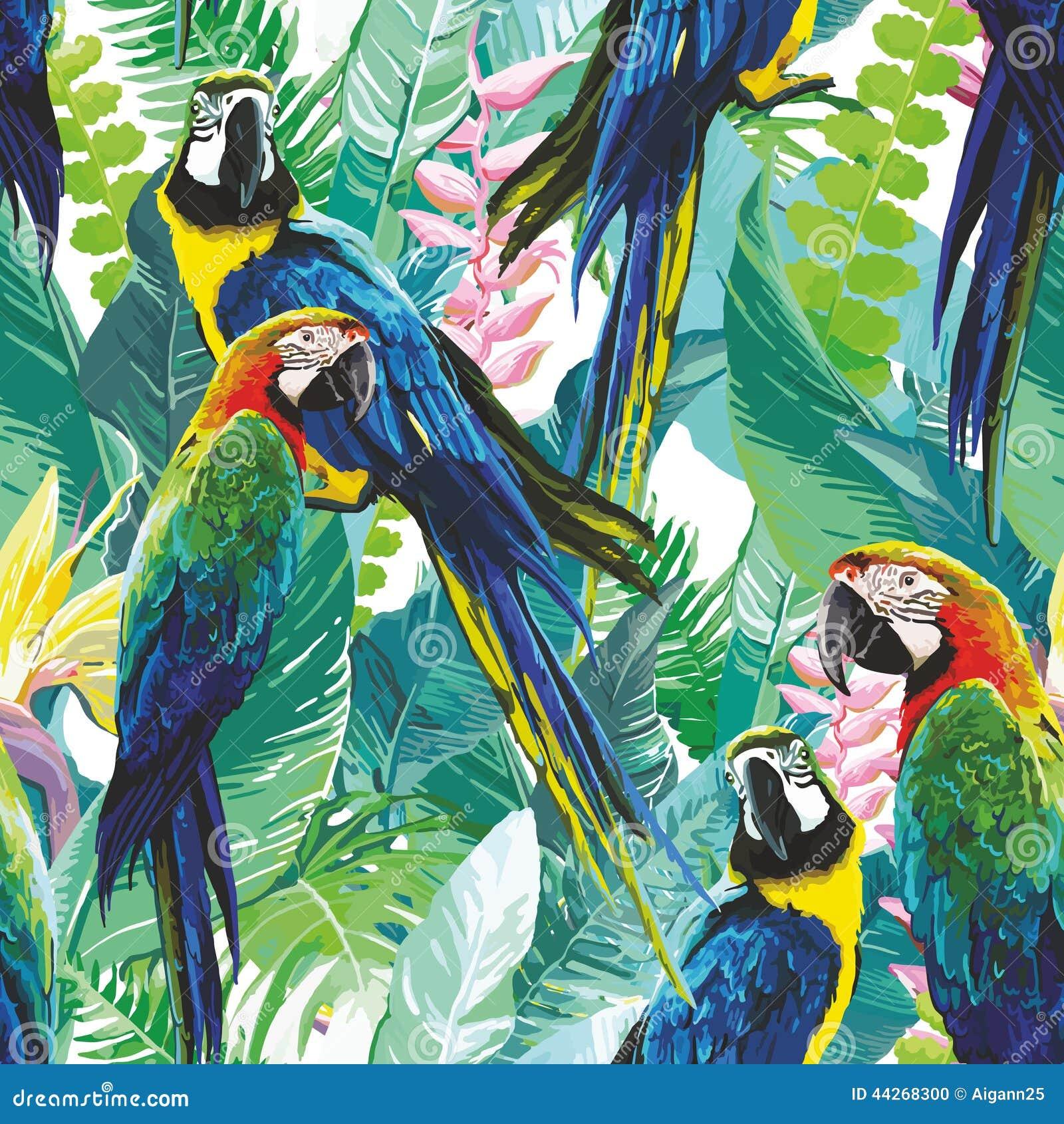 Perroquets colorés et fleurs exotiques Photo stock