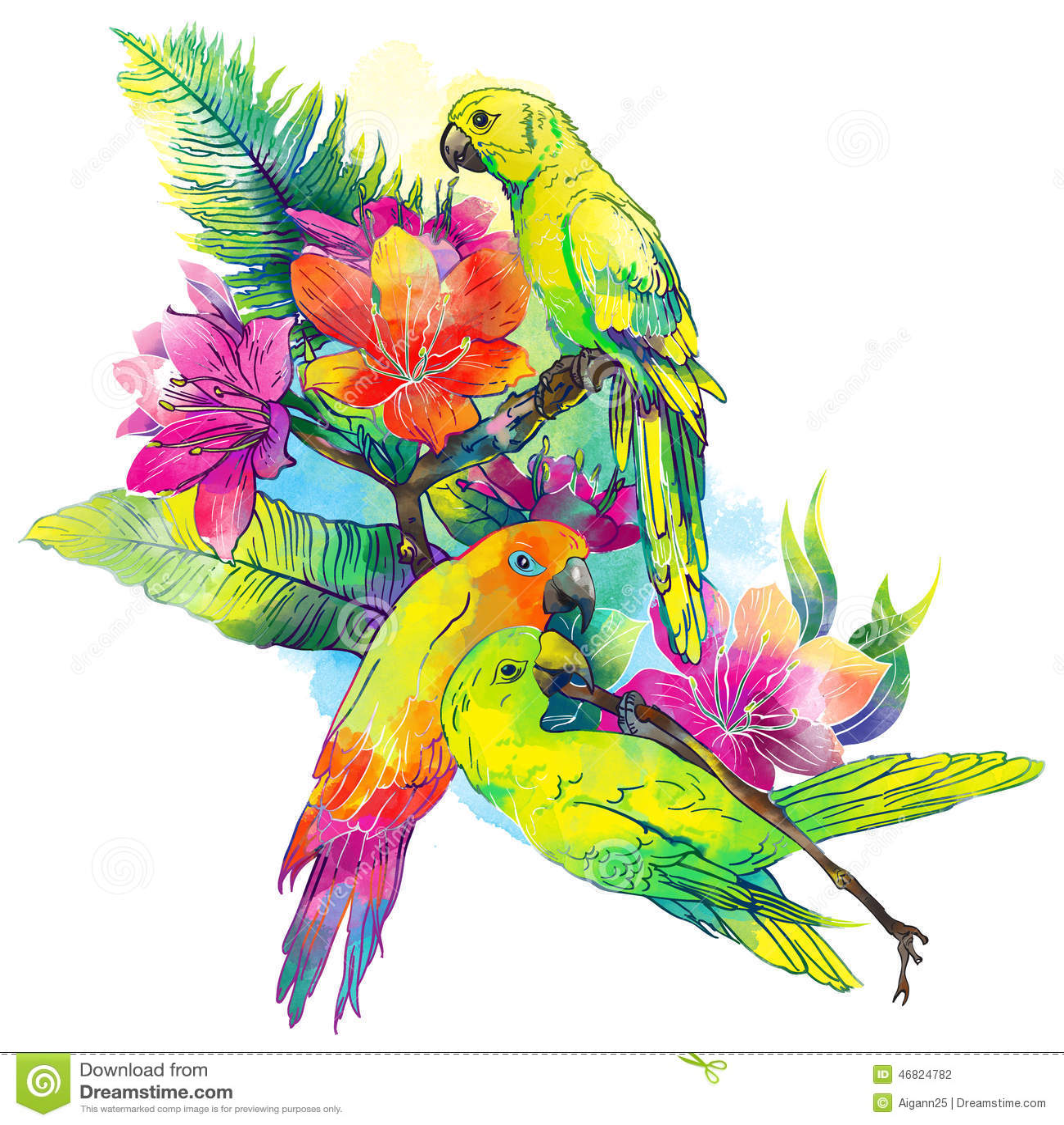 Perroquets jaunes et fleurs exotiques