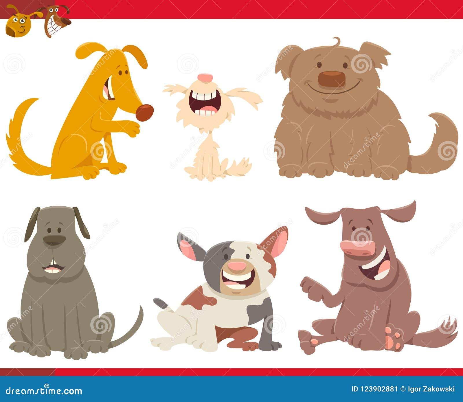 Perros O Personajes De Dibujos Animados Felices De Los Perritos