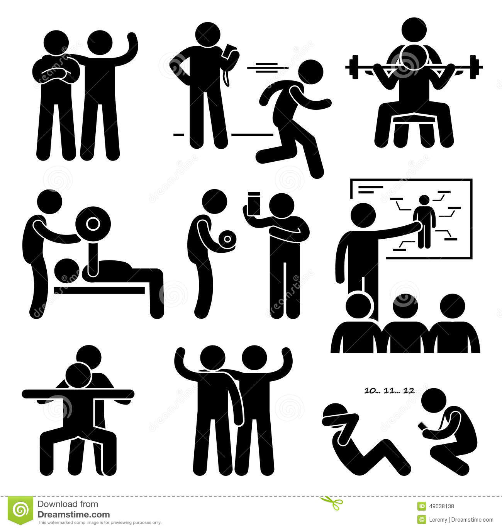 Persönliche Turnhallen-Zug-Trainer-Instructor Exercise Workout-Ikonen