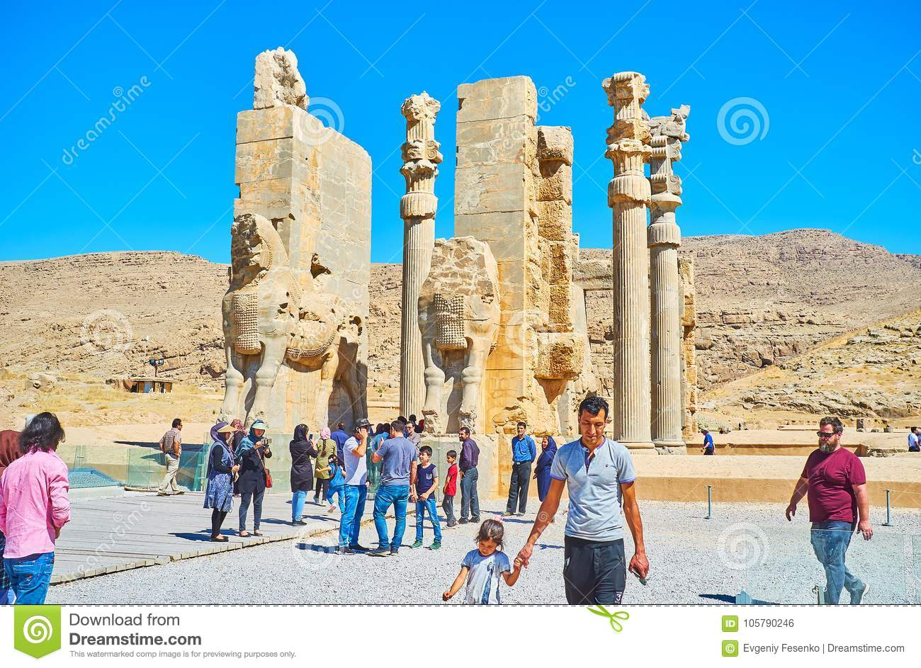 The Famous Landmarks Of Persepolis Archaeological Site Iran Editorial Photo Image Of Hill Assyrian 105790246