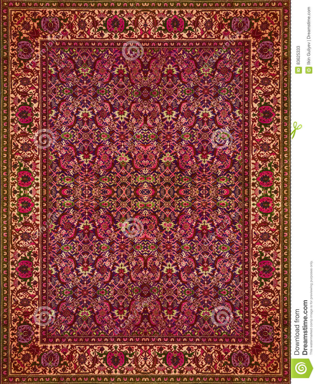 Red Carpet Texture Pattern: Persian Carpet Texture, Abstract Ornament. Round Mandala