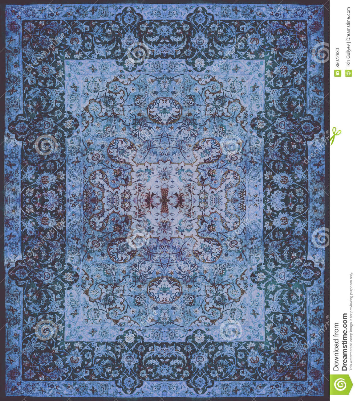Persian Carpet Texture, abstract ornament. Round mandala pattern, Middle Eastern Traditional Carpet Fabric Texture. Turquoise milk