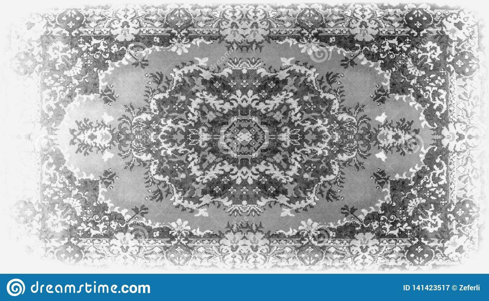 Persian Carpet Texture, abstract ornament. Round mandala pattern, Middle Eastern Traditional Carpet Fabric Texture. Turquoise