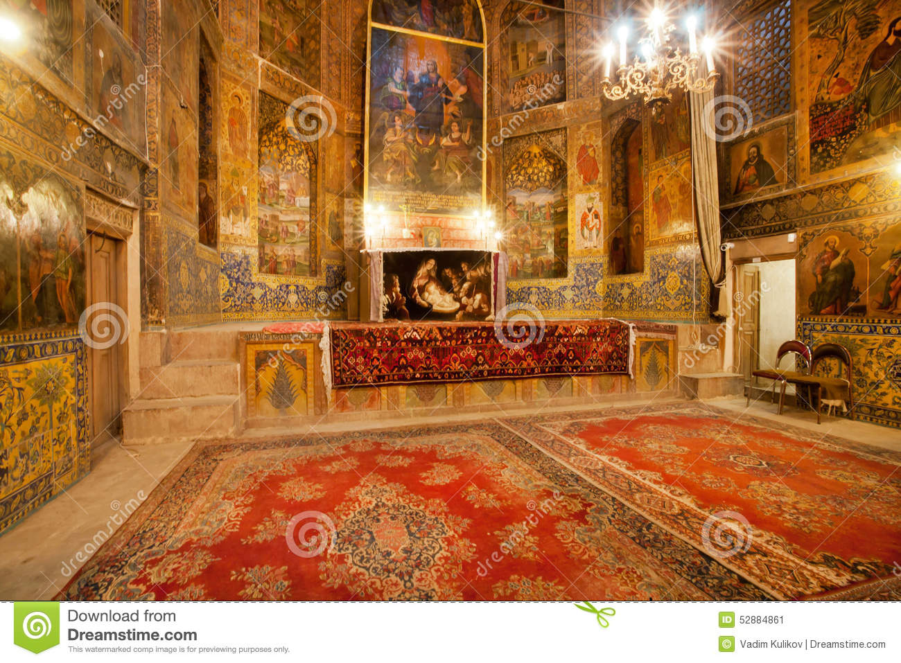 Persian Carpets On The Floor Of Ancient Cathedral