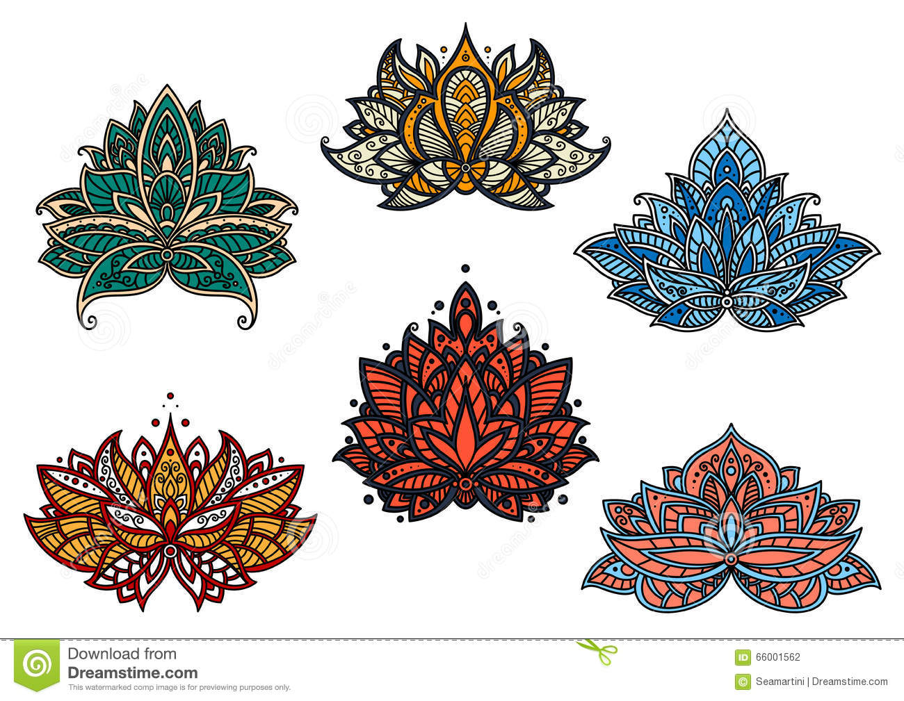 Persian Colorful Blooming Paisley Flowers Stock Vector
