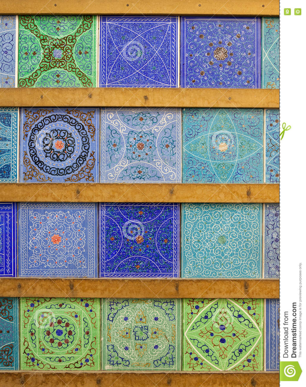 Persian Islamic Motifs And Patterns On Handmade Colorful Blue And ...