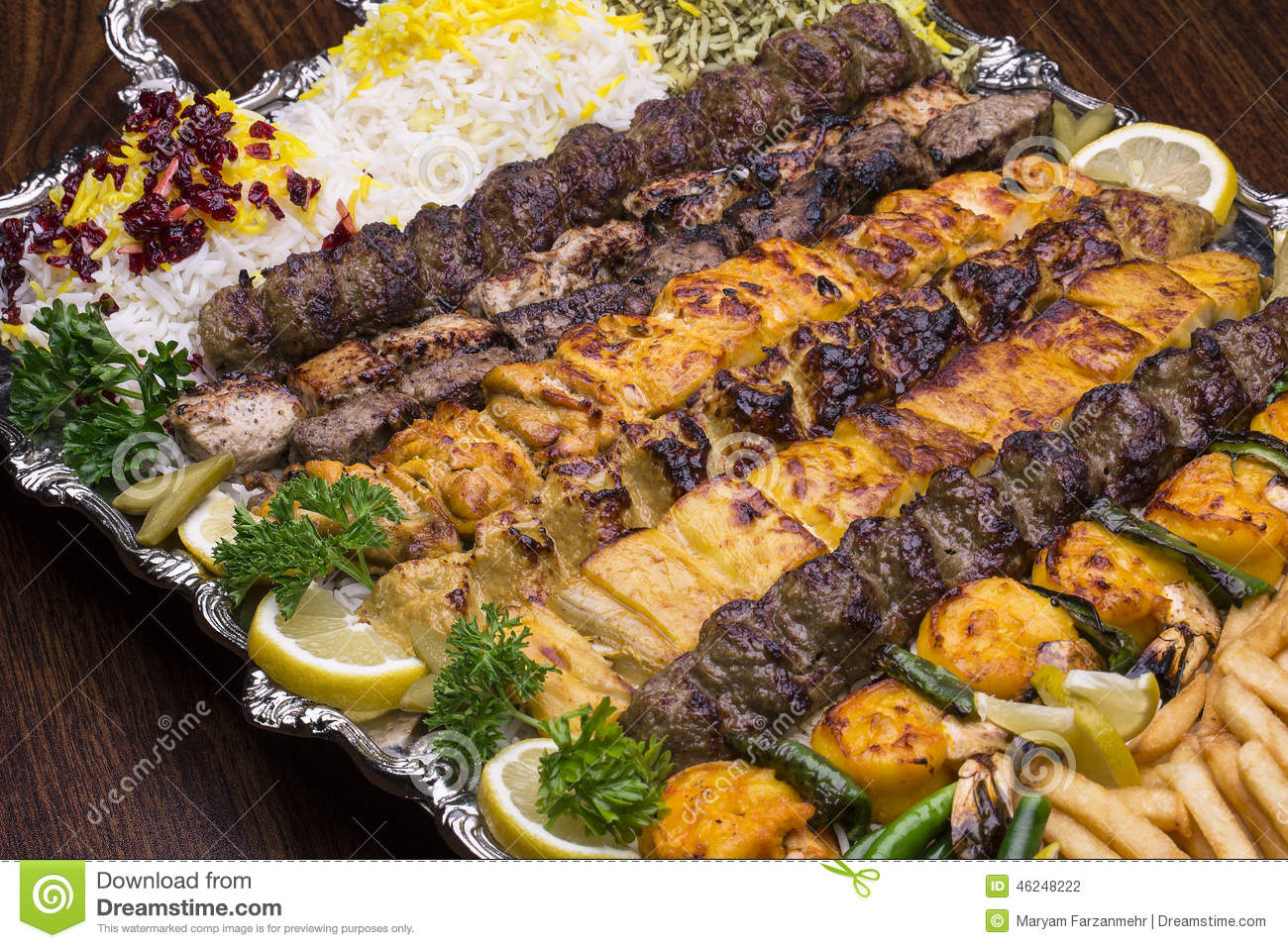 Close Up Of Persian Mix Kebab Consist Of Minced Meat