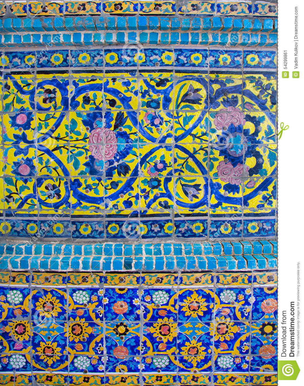 Persian Patterns On The Beautiful Walls Of The Old Mosque