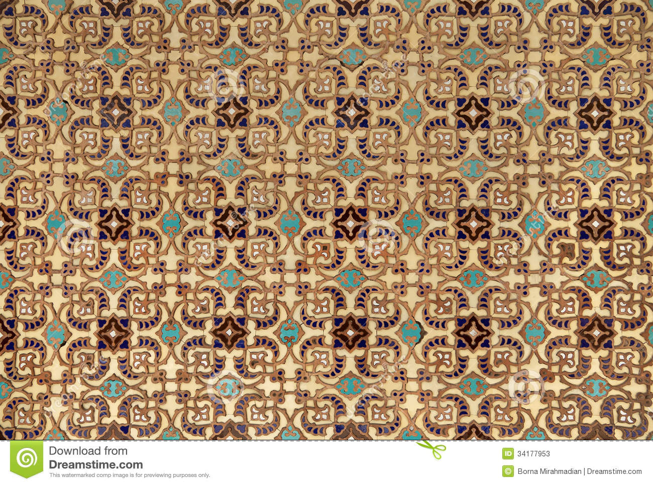 Persian Tiles With Old Islamic Pattern Stock Photos