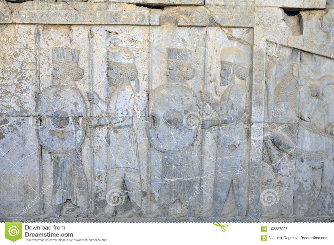 Persian Warriors Armed Bas Relief In Xerxes Palace Persepolis Iran Stock Image Image Of Asia East 103337897
