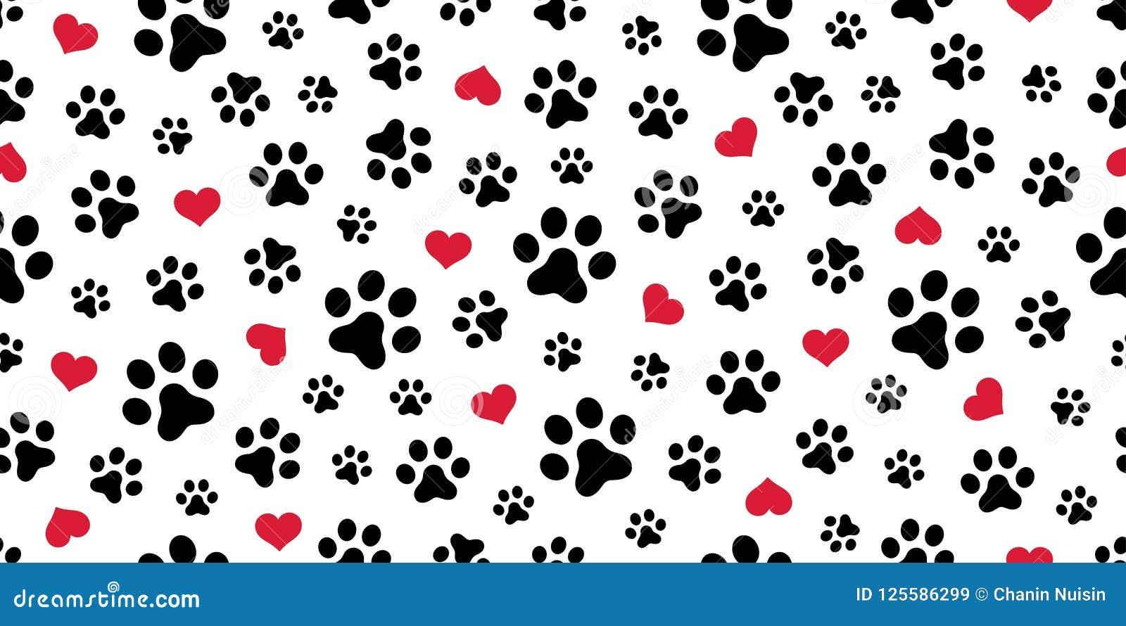Persiga o fundo isolado coração do papel de parede do Valentim do lenço do vetor do teste padrão de Paw Seamless