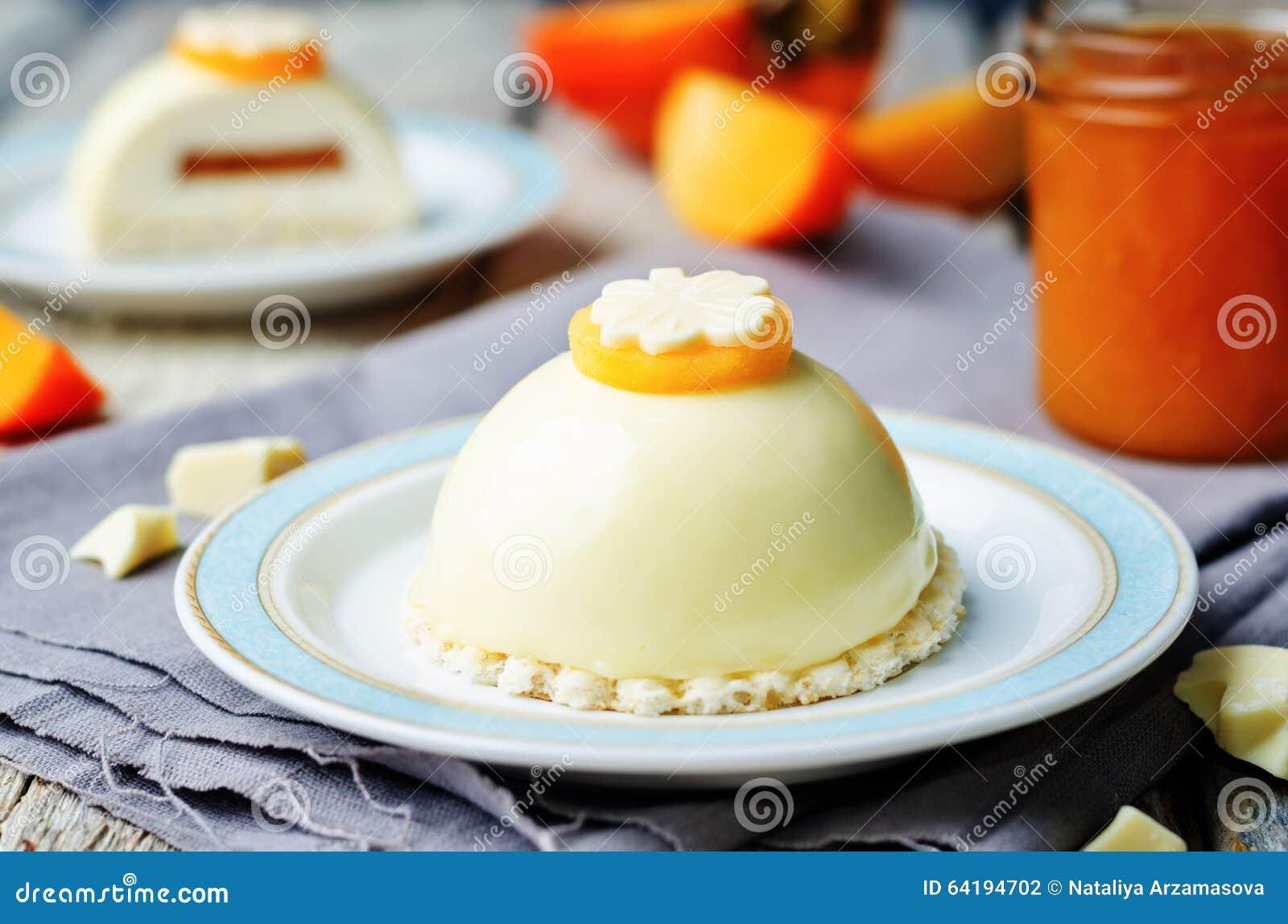 Persimmon White Chocolate Cream Cheese Mousse Cake Stock Photo ...