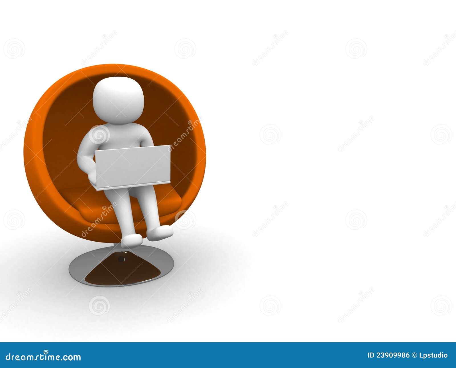 Person 3d mit dem Laptop, der auf Sofa sitzt