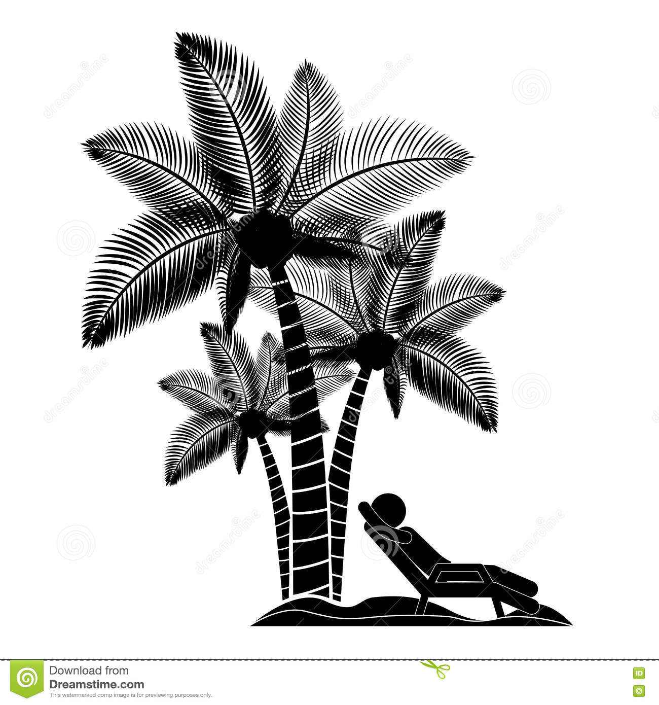 Person Beach Chair With Palm Trees Stock Vector ...
