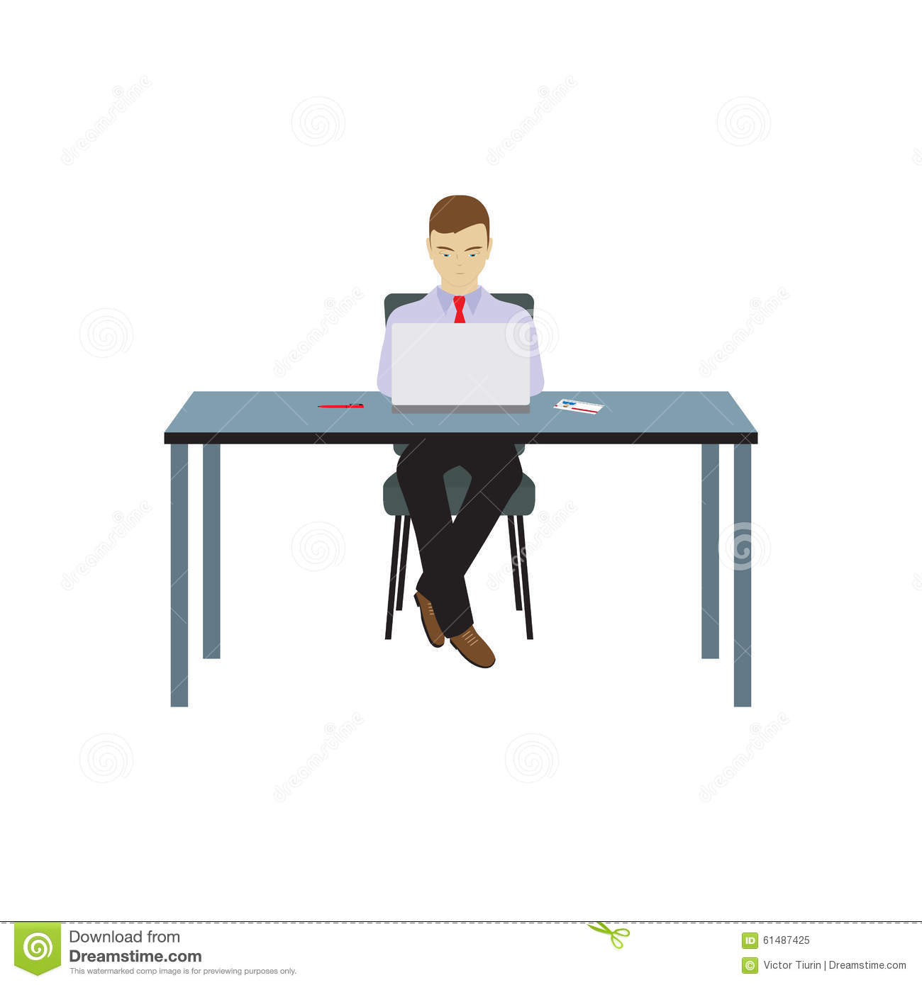 Person businessman sitting at the table stock vector for Sitting table designs