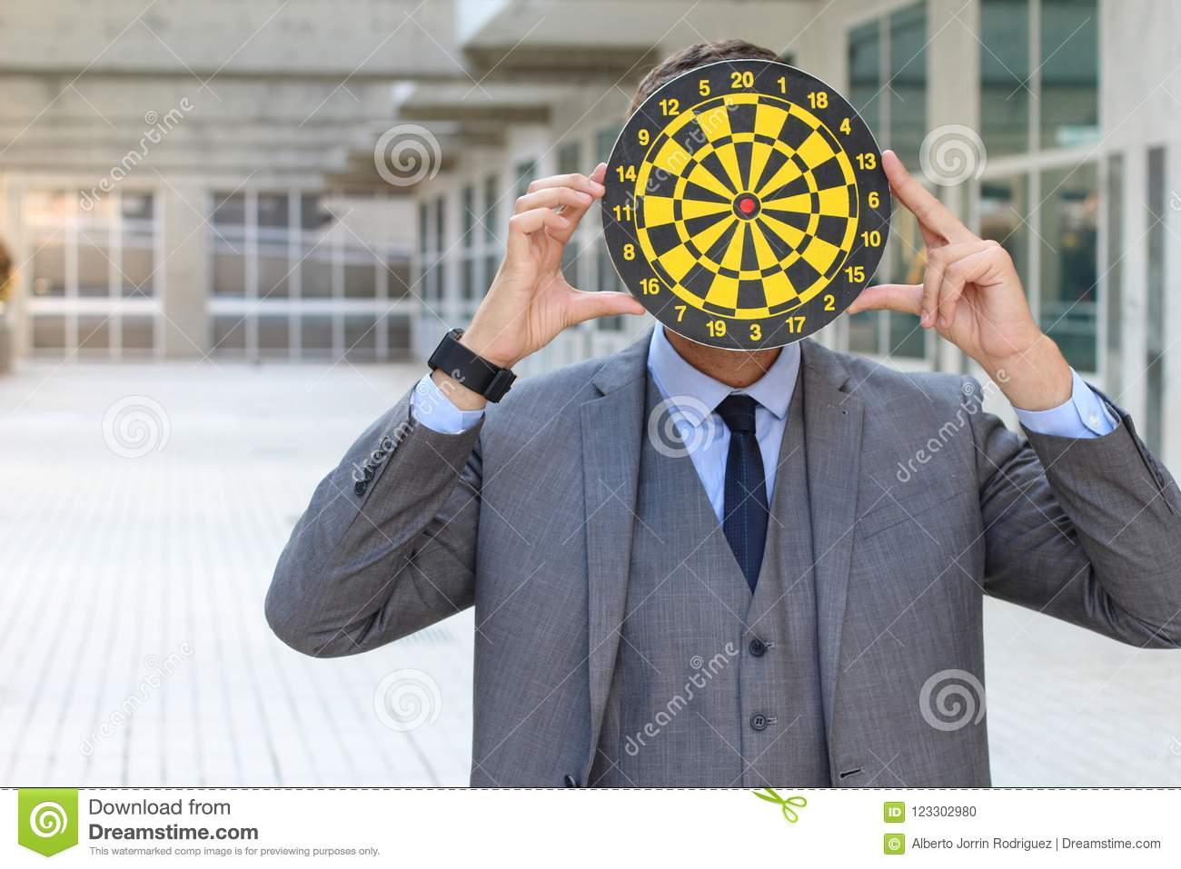 Download Person With Dartboard Head In Office Space Stock Photo   Image Of  Bullseye, Bullying